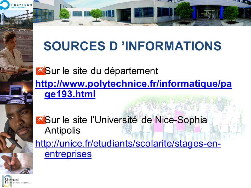 SOURCES D INFORMATIONS Sur le site du département http://www.polytechnice.fr/informatique/pa ge193.html Sur le site lUniversité de Nice-Sophia Antipol