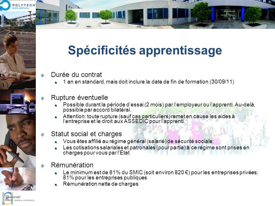 Spécificités apprentissage Durée du contrat 1 an en standard, mais doit inclure la date de fin de formation (30/09/11) Rupture éventuelle Possible dur