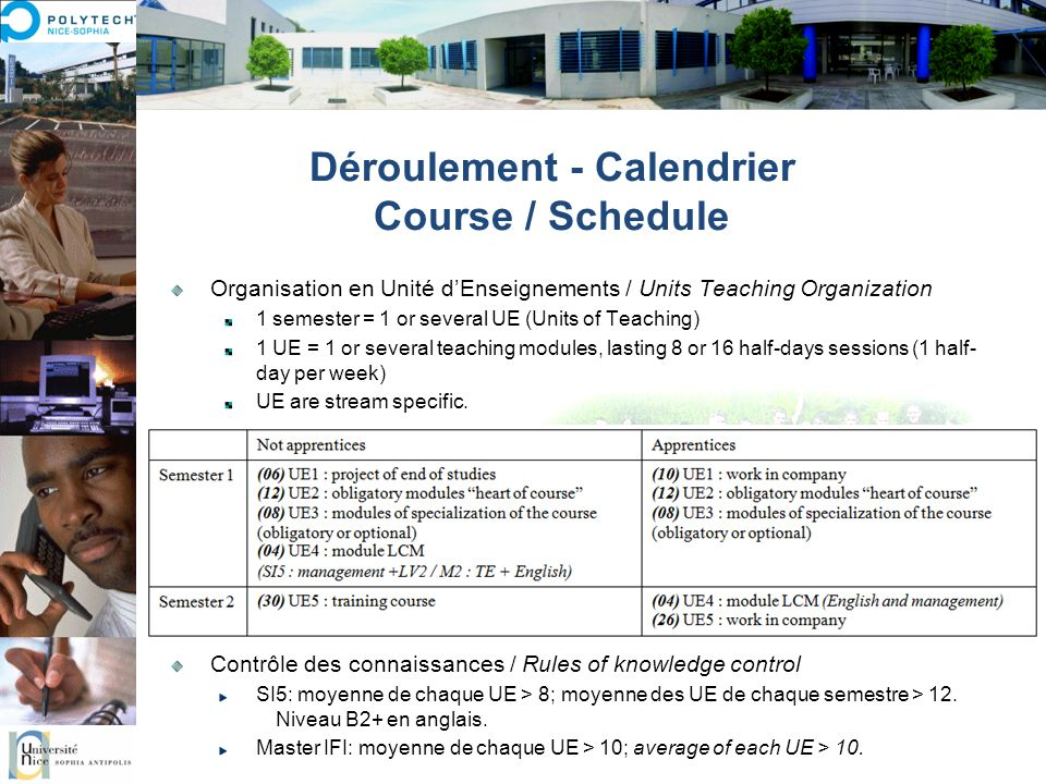 Calendrier global / Global schedule Online course schedule http://edt.polytech.unice.fr Key dates Welcome day (mandatory for all): Friday, 1 October 2010 at 9:30 am Classes beginning: Monday, October 4, 2010 at 8:30 am Christmas holidays: from Friday evening, December 17, 2010 to Monday morning, January 3, 2011 (classes resume) End of classes: Friday Feb.