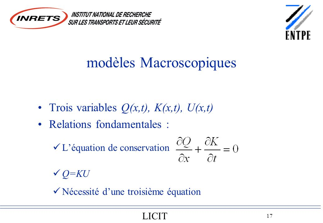 LICIT 17 modèles Macroscopiques Trois variables Q(x,t), K(x,t), U(x,t) Relations fondamentales : Léquation de conservation Q=KU Nécessité dune troisième équation