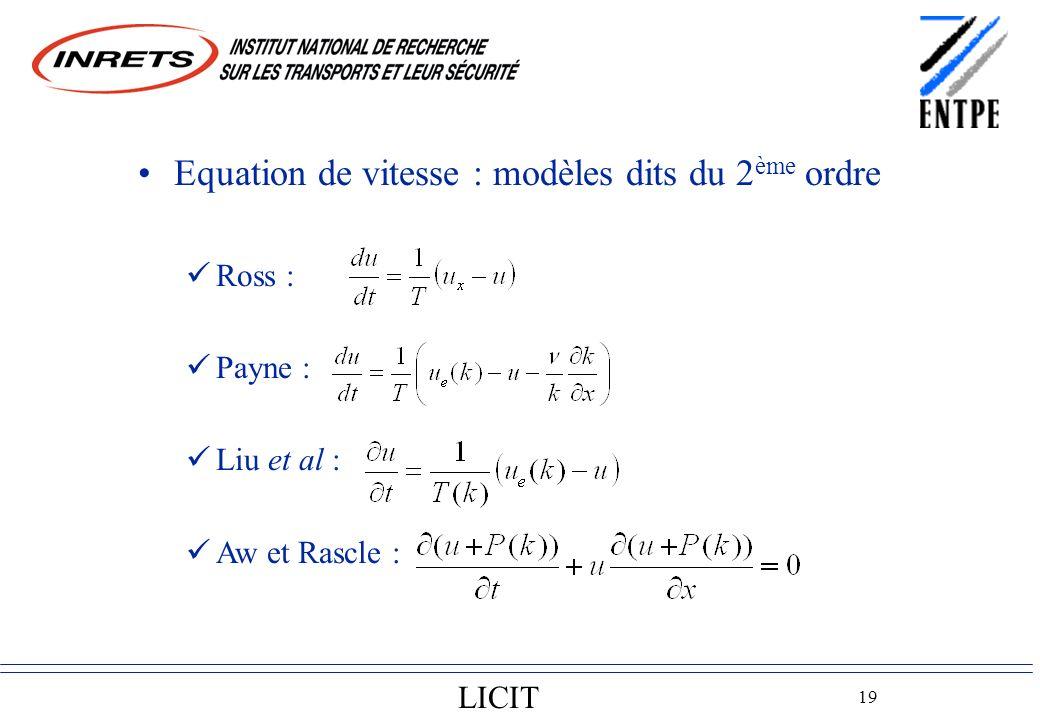 LICIT 19 Equation de vitesse : modèles dits du 2 ème ordre Ross : Payne : Liu et al : Aw et Rascle :