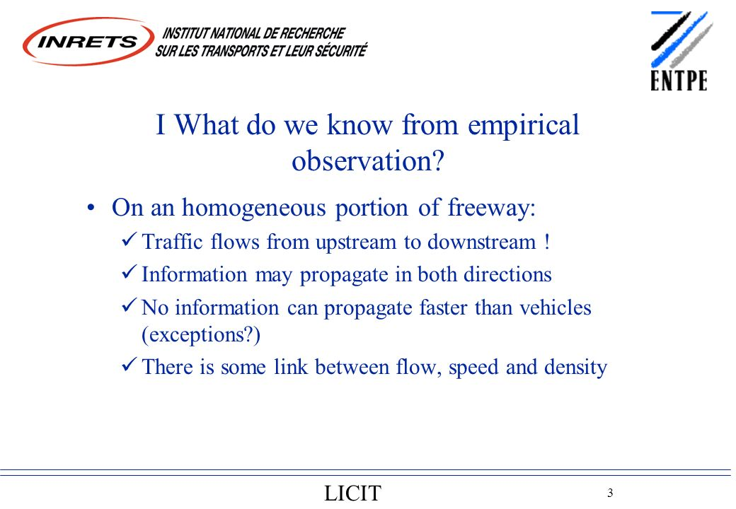 LICIT 3 I What do we know from empirical observation.