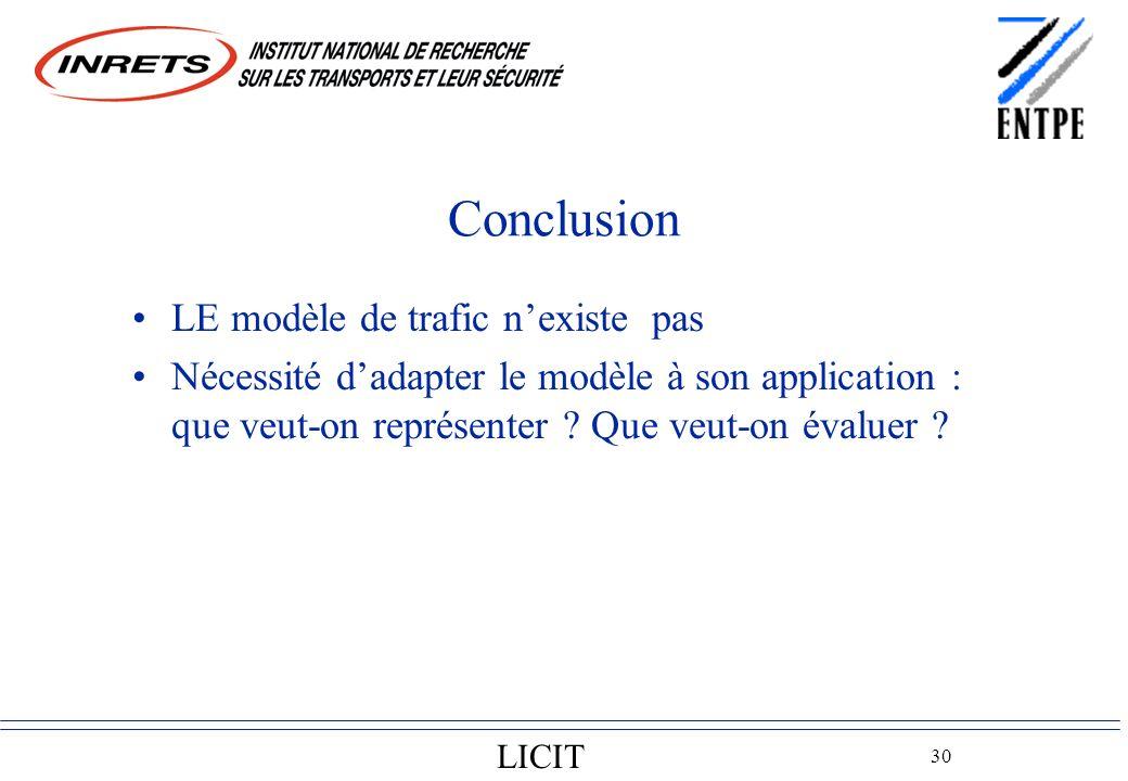 LICIT 30 Conclusion LE modèle de trafic nexiste pas Nécessité dadapter le modèle à son application : que veut-on représenter .