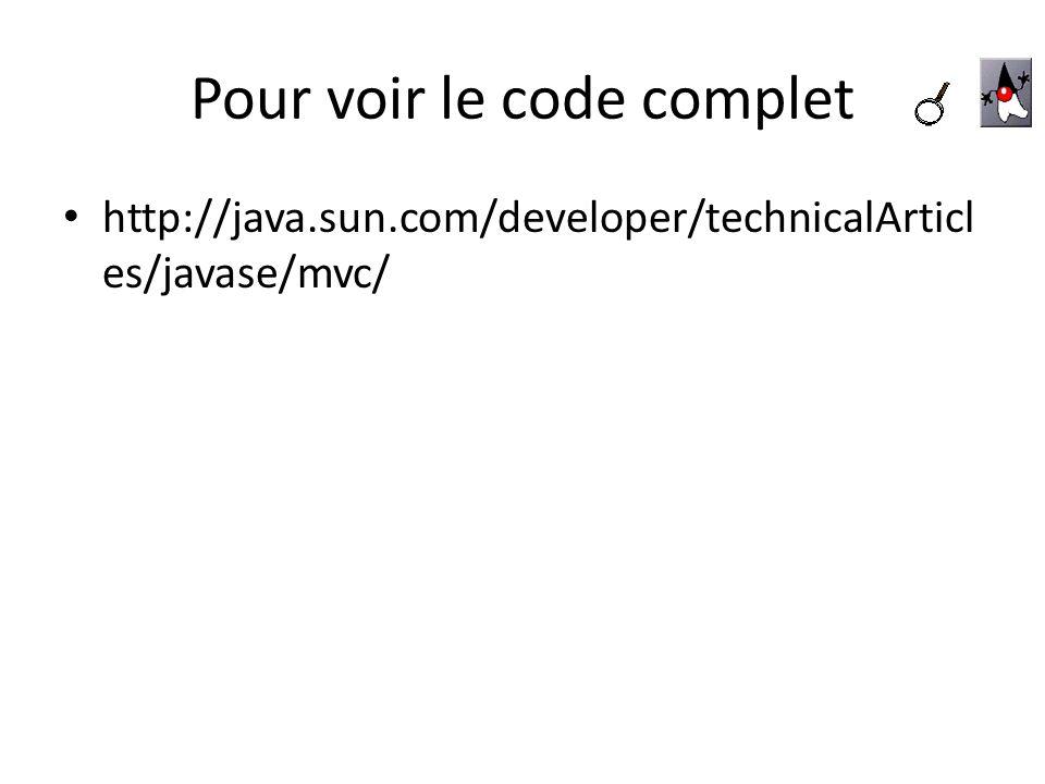Pour voir le code complet http://java.sun.com/developer/technicalArticl es/javase/mvc/