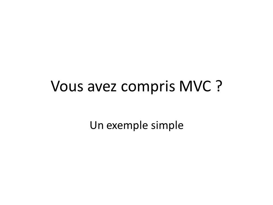 Vous avez compris MVC ? Un exemple simple
