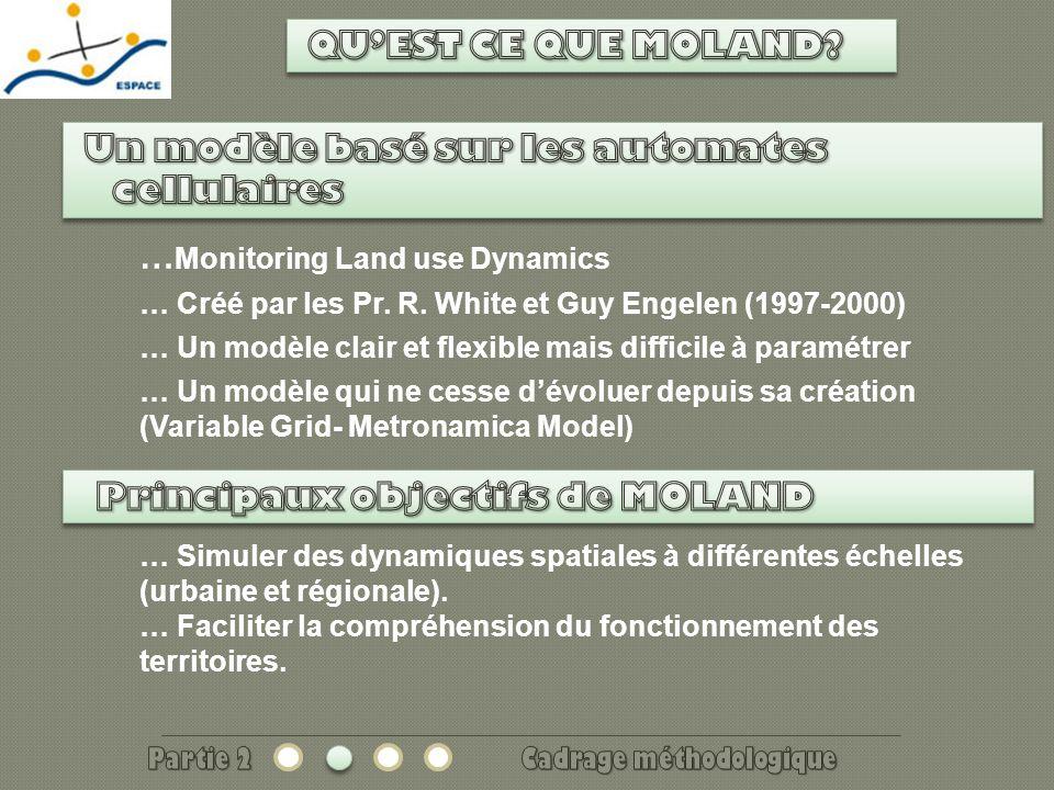 Visualisation des dynamiques spatiales Visualisation des dynamiques temporelles Réalité Simulation Scénario: Occupation du sol + réseau de transport 2000 2040