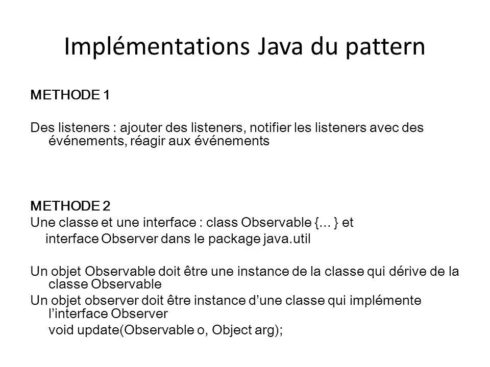 Implémentations Java du pattern METHODE 1 Des listeners : ajouter des listeners, notifier les listeners avec des événements, réagir aux événements MET