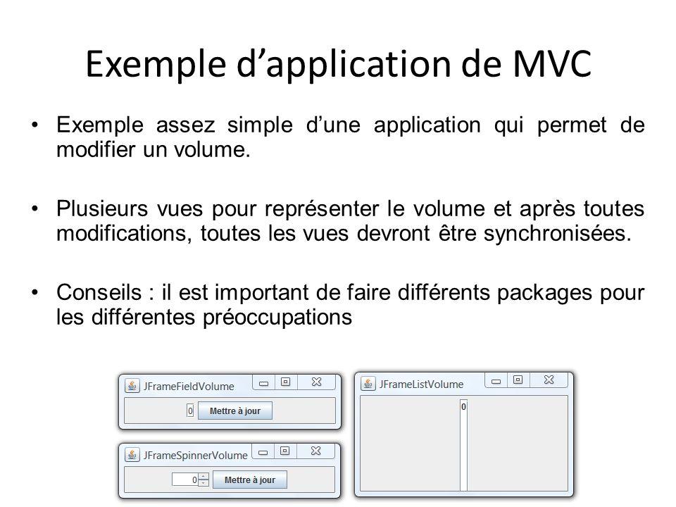 Exemple dapplication de MVC Exemple assez simple dune application qui permet de modifier un volume. Plusieurs vues pour représenter le volume et après