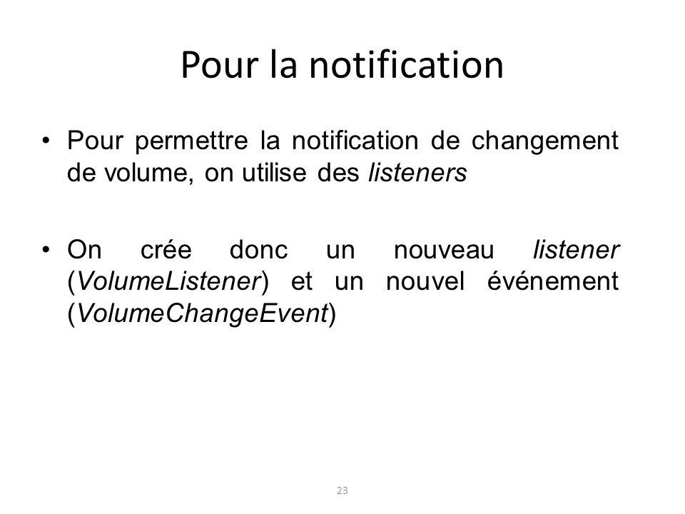 Pour la notification Pour permettre la notification de changement de volume, on utilise des listeners On crée donc un nouveau listener (VolumeListener