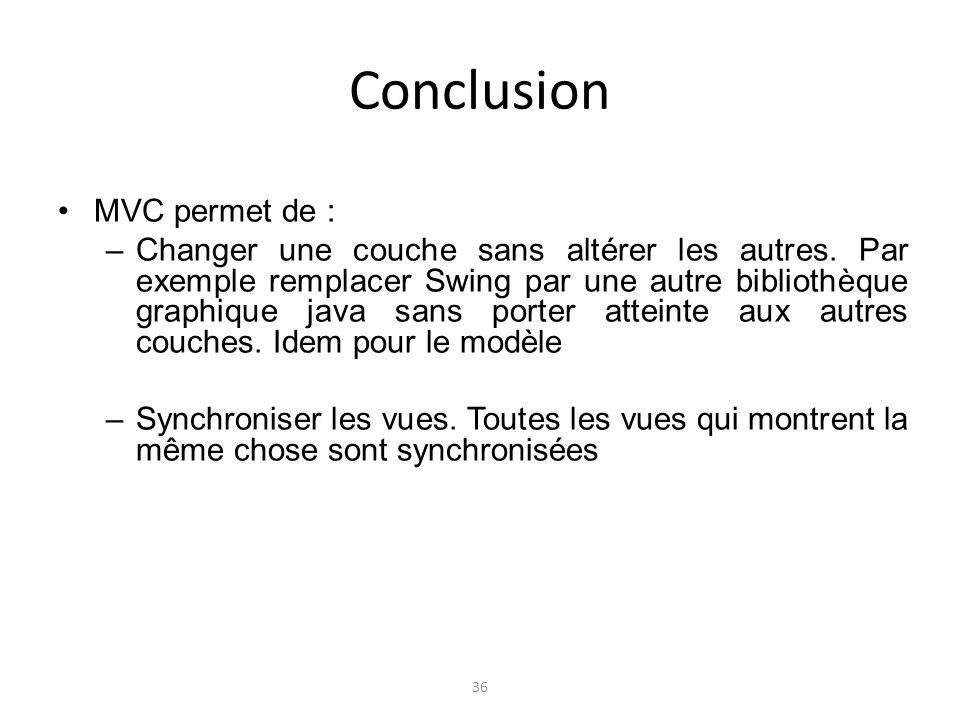 Conclusion MVC permet de : –Changer une couche sans altérer les autres. Par exemple remplacer Swing par une autre bibliothèque graphique java sans por