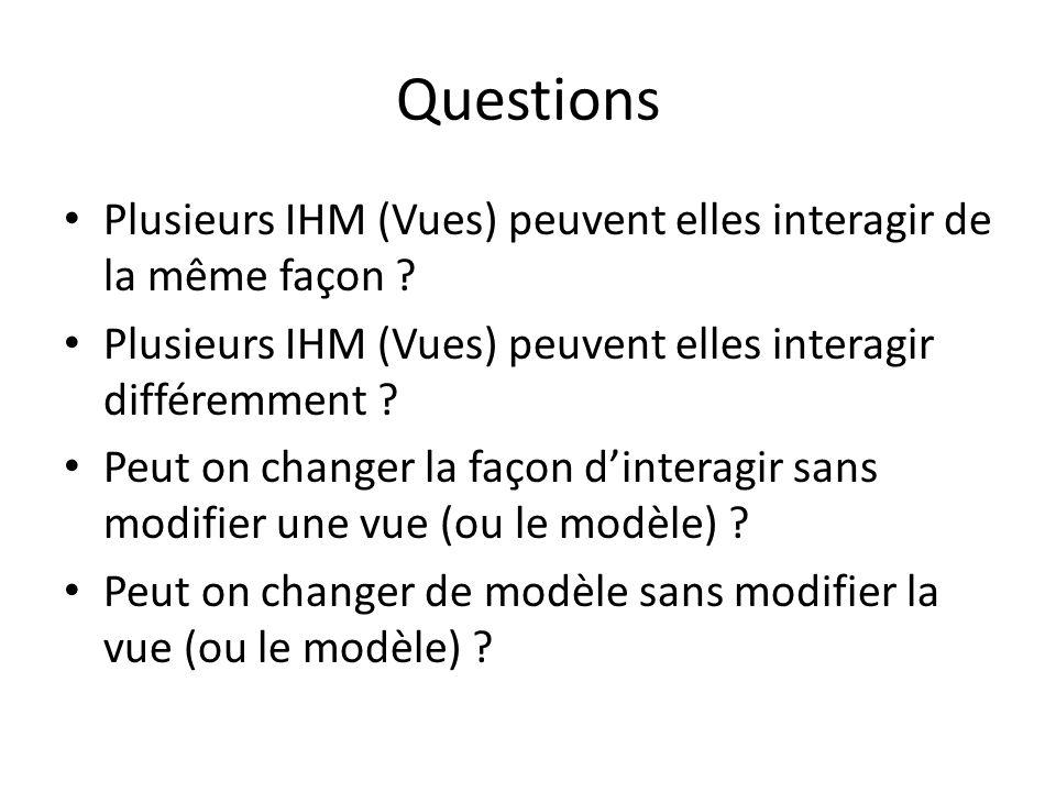 Questions Plusieurs IHM (Vues) peuvent elles interagir de la même façon ? Plusieurs IHM (Vues) peuvent elles interagir différemment ? Peut on changer