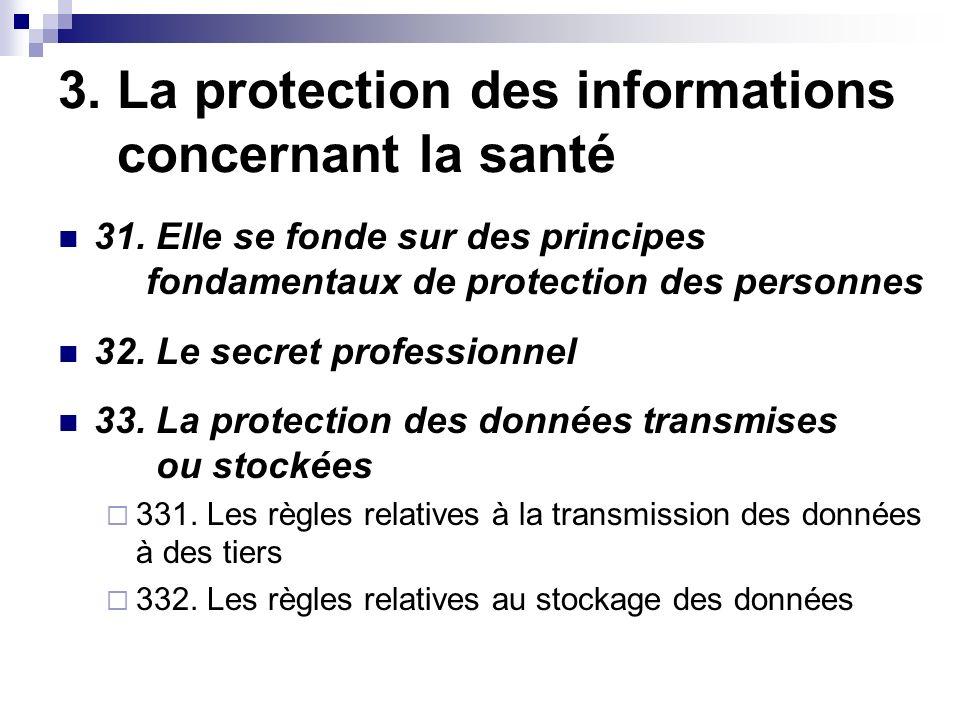 3. La protection des informations concernant la santé 31.
