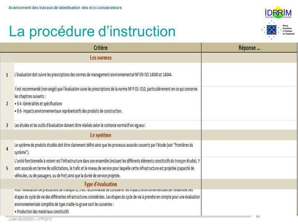 La procédure dinstruction Julien BUISSON – JTR 2013 13 Avancement des travaux de labellisation des éco-comparateurs