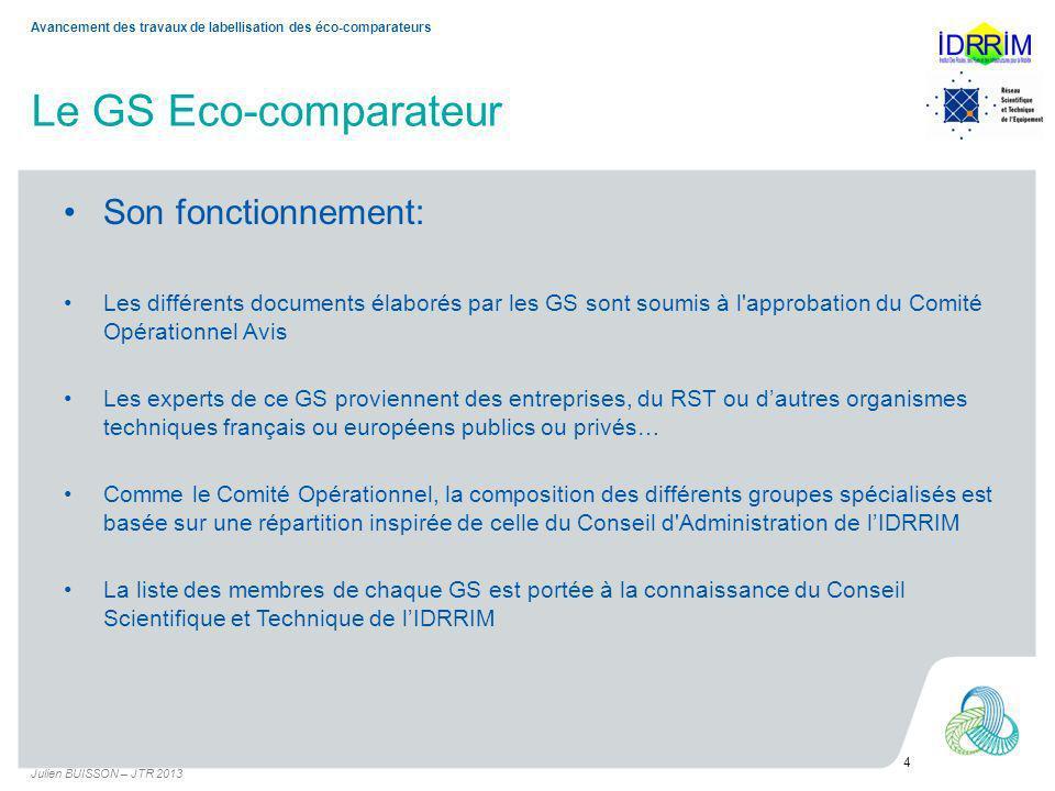 Le GS Eco-comparateur Ses membres: Président: N PEZAS (CG33) Secrétaire: J BUISSON (USIRF) Les membres: –Entreprises: USIRF –Les collectivités: Conseils Généraux, Communauté dagglo, DIR, –Les organismes publics: IFSTTAR, SETRA Dans le détail: D.