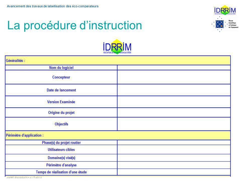 La procédure dinstruction Julien BUISSON – JTR 2013 9 Avancement des travaux de labellisation des éco-comparateurs