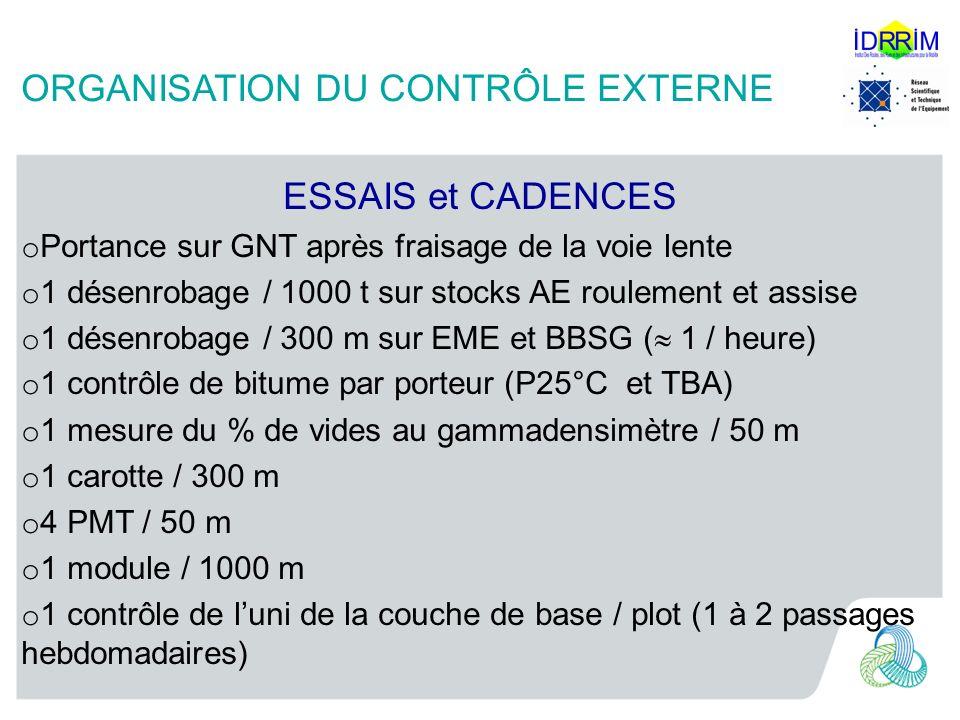 ORGANISATION DU CONTRÔLE EXTERNE ESSAIS et CADENCES o Portance sur GNT après fraisage de la voie lente o 1 désenrobage / 1000 t sur stocks AE roulement et assise o 1 désenrobage / 300 m sur EME et BBSG ( 1 / heure) o 1 contrôle de bitume par porteur (P25°C et TBA) o 1 mesure du % de vides au gammadensimètre / 50 m o 1 carotte / 300 m o 4 PMT / 50 m o 1 module / 1000 m o 1 contrôle de luni de la couche de base / plot (1 à 2 passages hebdomadaires)