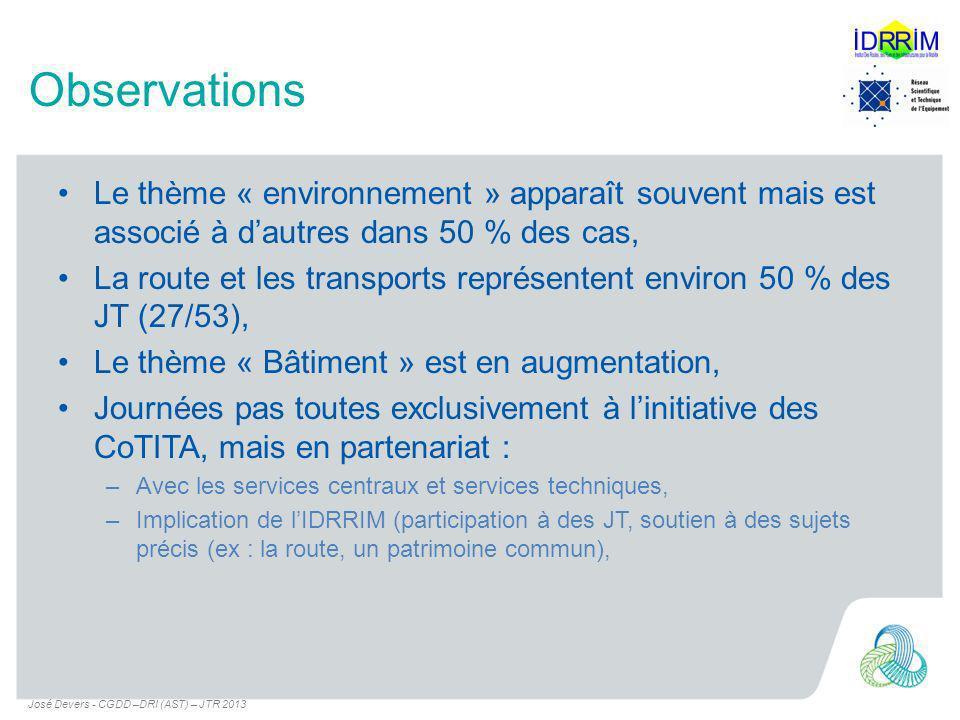 Observations Le thème « environnement » apparaît souvent mais est associé à dautres dans 50 % des cas, La route et les transports représentent environ 50 % des JT (27/53), Le thème « Bâtiment » est en augmentation, Journées pas toutes exclusivement à linitiative des CoTITA, mais en partenariat : –Avec les services centraux et services techniques, –Implication de lIDRRIM (participation à des JT, soutien à des sujets précis (ex : la route, un patrimoine commun), José Devers - CGDD –DRI (AST) – JTR 2013