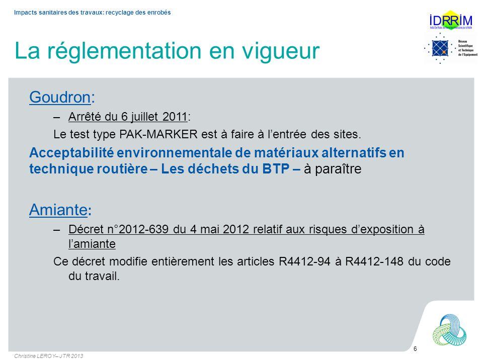 La réglementation en vigueur Goudron: –Arrêté du 6 juillet 2011: Le test type PAK-MARKER est à faire à lentrée des sites. Acceptabilité environnementa