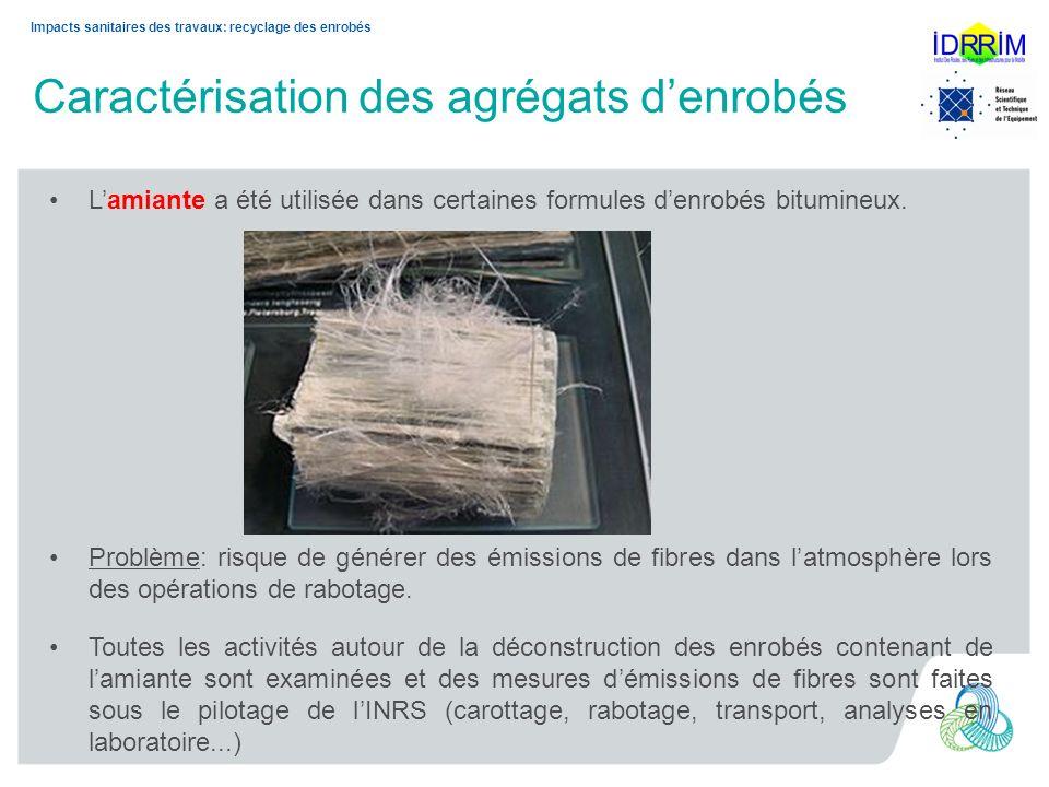 9 Christine LEROY– JTR 2013 Impacts sanitaires des travaux: recyclage des enrobés Caractérisation des agrégats denrobés Premiers résultats: activités de carottage.