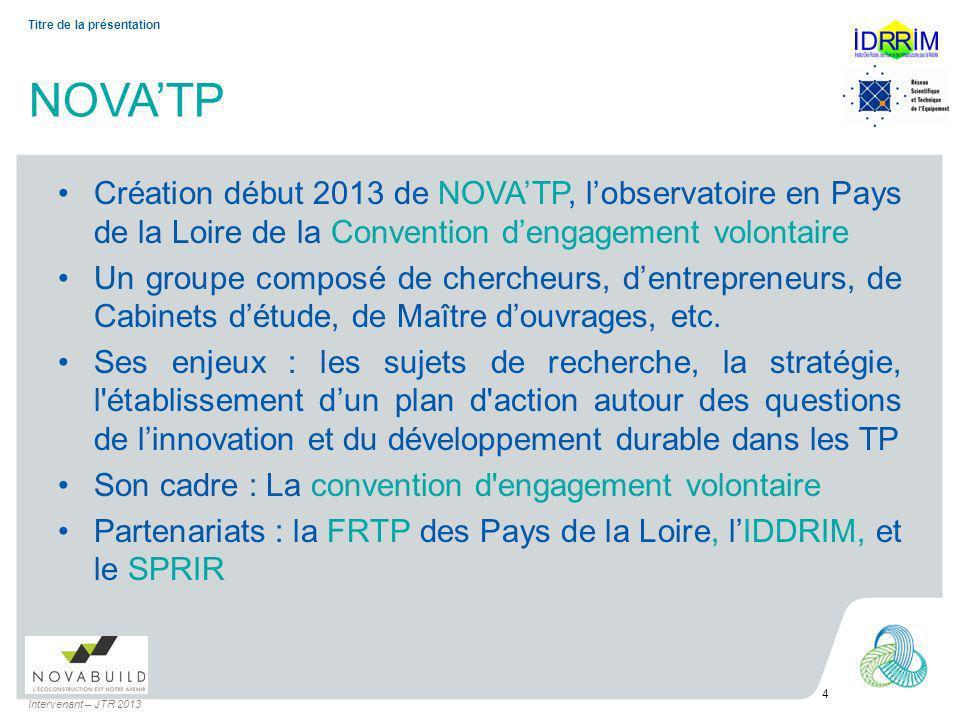 NOVATP Création début 2013 de NOVATP, lobservatoire en Pays de la Loire de la Convention dengagement volontaire Un groupe composé de chercheurs, dentrepreneurs, de Cabinets détude, de Maître douvrages, etc.