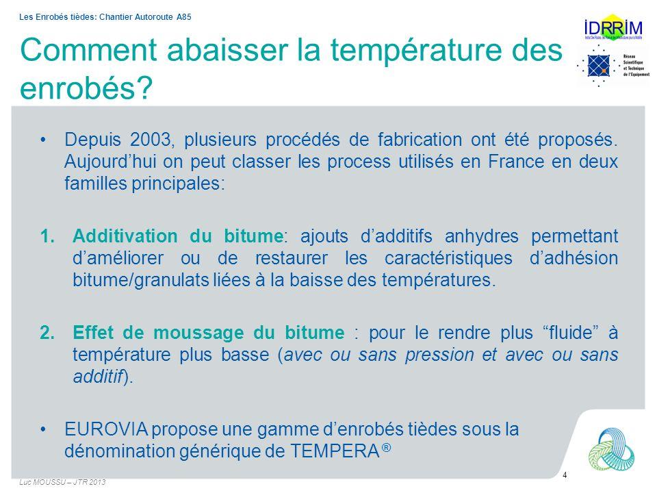 Présentation du chantier A85 – VIVY - BOURGUEIL Maîtrise douvrage : COFIROUTE Rechargement en BBSG 0/10 classe 3 (6,0 cm) – Sens 1 Angers / Tours : PR 39.000 au PR 62.350 (Enrobé à chaud) –Sens 2 Tours / Angers : PR 62.350 au PR 37.500 (Enrobé tiède) Fabrication : TSMR28 Mise en œuvre –Finisseurs Vogële 2100 –Alimentateur type Franex F392 –Cylindres type CC524 et 522 Tonnage global 77 000 tonnes Période de réalisation : –Mi-septembre à Mi-novembre 2011 Luc MOUSSU – JTR 2013 5 Les Enrobés tièdes: Chantier Autoroute A85 Process gamme TEMPERA ® utilisé: mousse de bitume additivé objectif d abaissement de 40 à 50°C: Evotherm® DAT5)