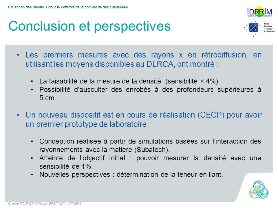 Conclusion et perspectives Les premiers mesures avec des rayons x en rétrodiffusion, en utilisant les moyens disponibles au DLRCA, ont montré : La fai