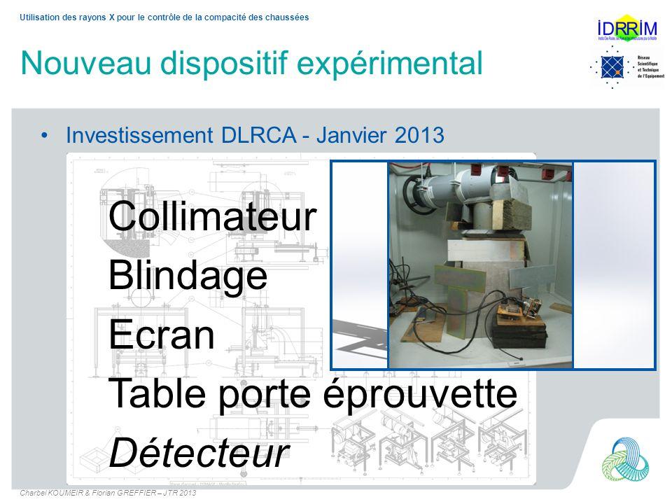 Nouveau dispositif expérimental Investissement DLRCA - Janvier 2013 Collimateur Blindage Ecran Table porte éprouvette Détecteur Utilisation des rayons