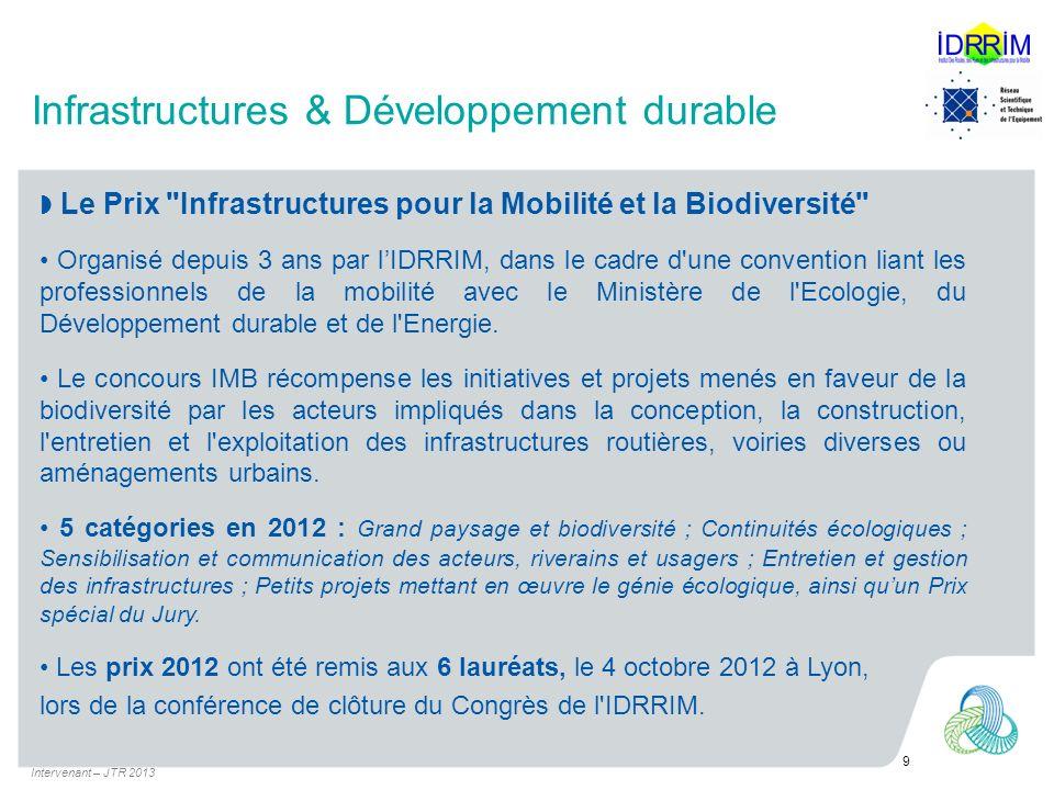 Infrastructures & Développement durable Le Prix Infrastructures pour la Mobilité et la Biodiversité Organisé depuis 3 ans par lIDRRIM, dans le cadre d une convention liant les professionnels de la mobilité avec le Ministère de l Ecologie, du Développement durable et de l Energie.