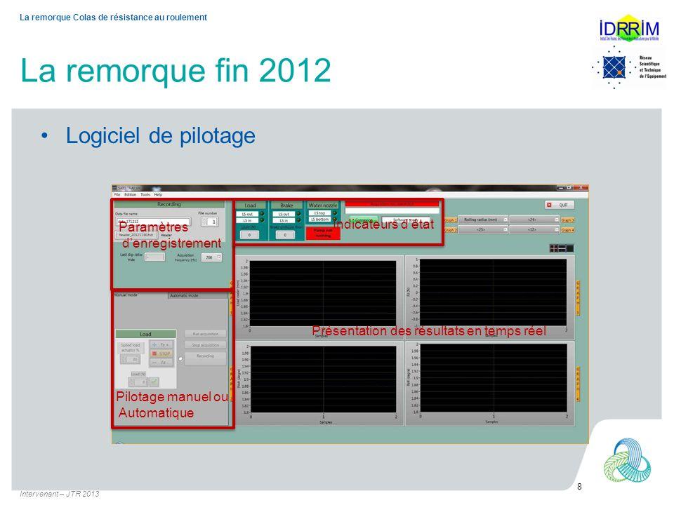 Les prochaines étapes Qualification métrologique (en cours) Intervenant – JTR 2013 9 La remorque Colas de résistance au roulement