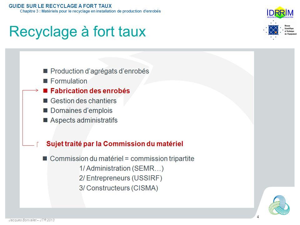 Recyclage à fort taux Jacques Bonvallet – JTR 2013 4 GUIDE SUR LE RECYCLAGE A FORT TAUX Chapitre 3 : Matériels pour le recyclage en installation de pr
