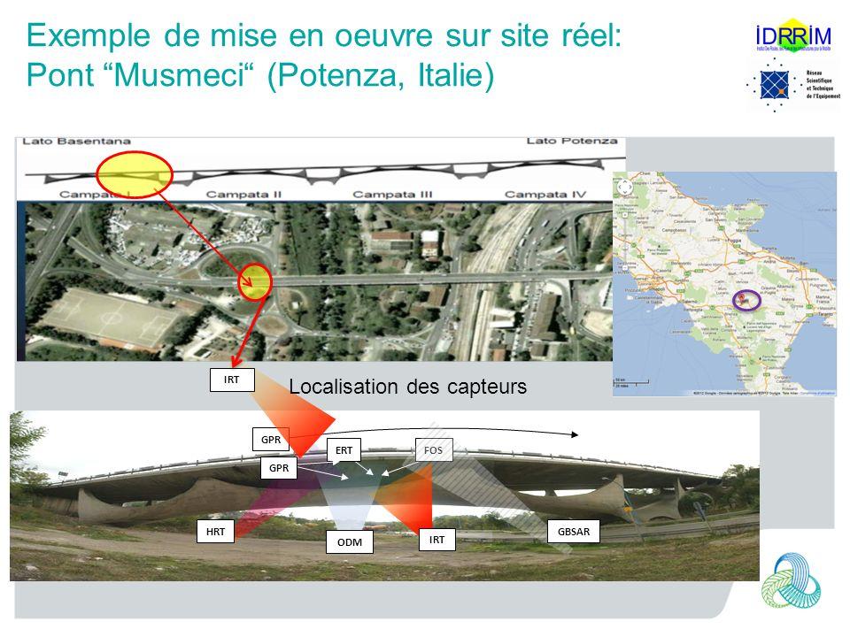 Exemple de mise en oeuvre sur site réel: Pont Musmeci (Potenza, Italie) FOSERT GPR HRT ODM GBSAR GPR IRT Localisation des capteurs
