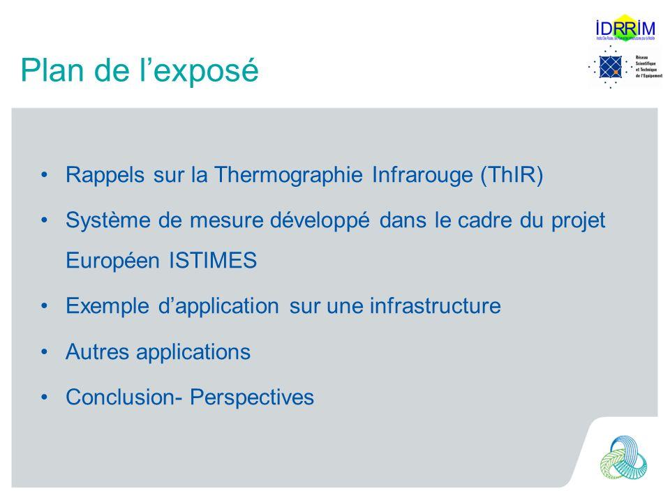 Plan de lexposé Rappels sur la Thermographie Infrarouge (ThIR) Système de mesure développé dans le cadre du projet Européen ISTIMES Exemple dapplicati