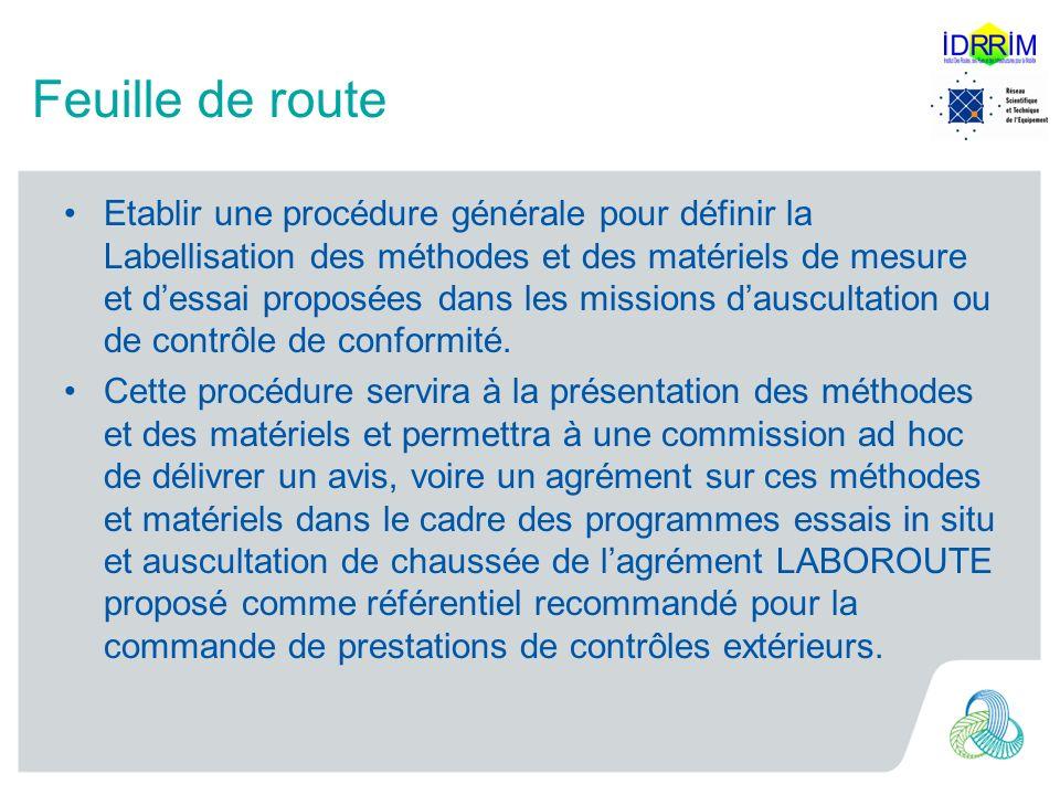 Feuille de route Etablir une procédure générale pour définir la Labellisation des méthodes et des matériels de mesure et dessai proposées dans les missions dauscultation ou de contrôle de conformité.
