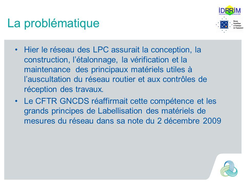 La problématique Hier le réseau des LPC assurait la conception, la construction, létalonnage, la vérification et la maintenance des principaux matériels utiles à lauscultation du réseau routier et aux contrôles de réception des travaux.