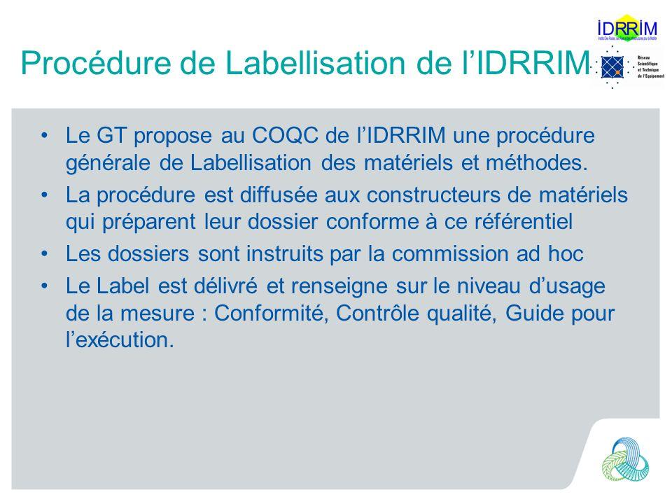 Procédure de Labellisation de lIDRRIM Le GT propose au COQC de lIDRRIM une procédure générale de Labellisation des matériels et méthodes.