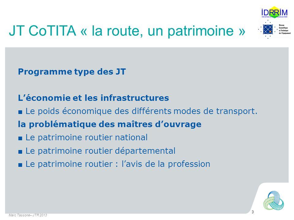 JT CoTITA « la route, un patrimoine » Programme type des JT Léconomie et les infrastructures Le poids économique des différents modes de transport.
