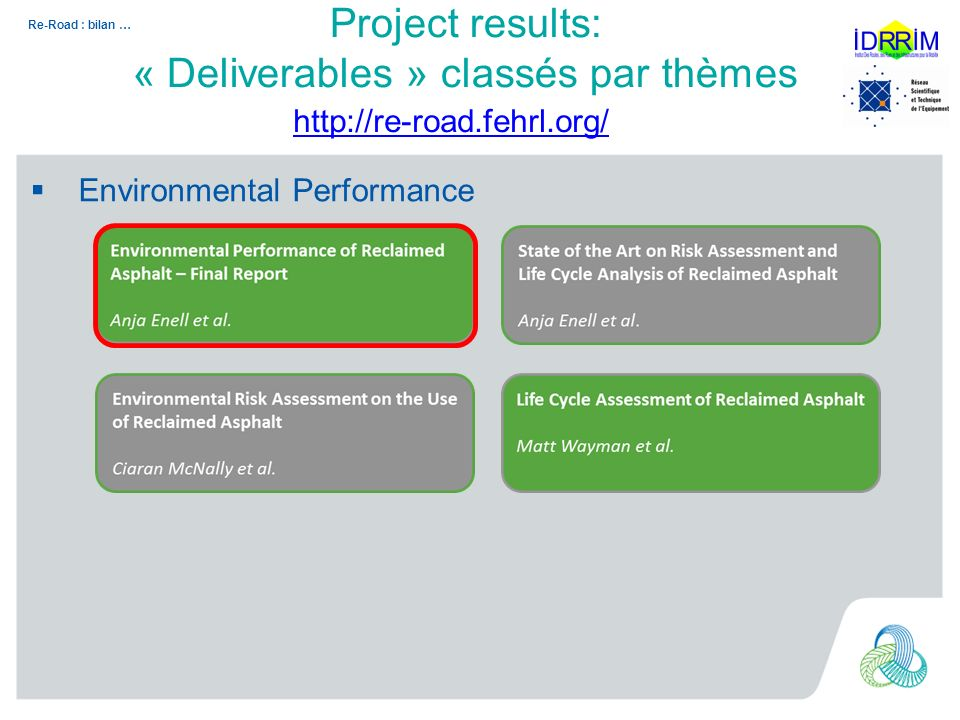 Re-Road : bilan … Environmental Performance http://re-road.fehrl.org/ Project results: « Deliverables » classés par thèmes
