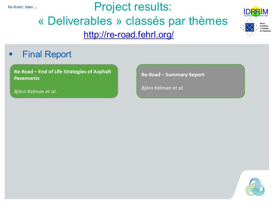 Re-Road : bilan … Sampling and characterization Project results: « Deliverables » classés par thèmes http://re-road.fehrl.org/
