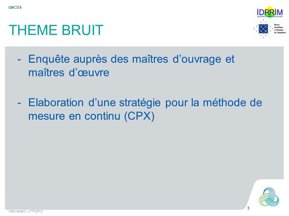 THEME BRUIT -Enquête auprès des maîtres douvrage et maîtres dœuvre -Elaboration dune stratégie pour la méthode de mesure en continu (CPX) Intervenant