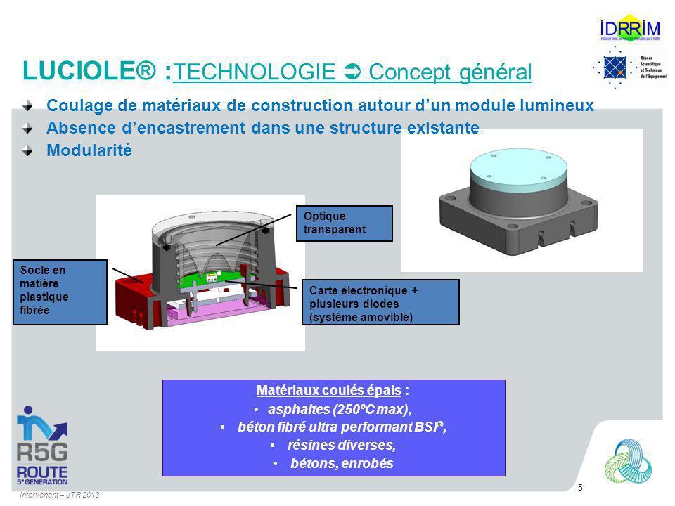 5 Socle en matière plastique fibrée Optique transparent Carte électronique + plusieurs diodes (système amovible) Matériaux coulés épais : asphaltes (2
