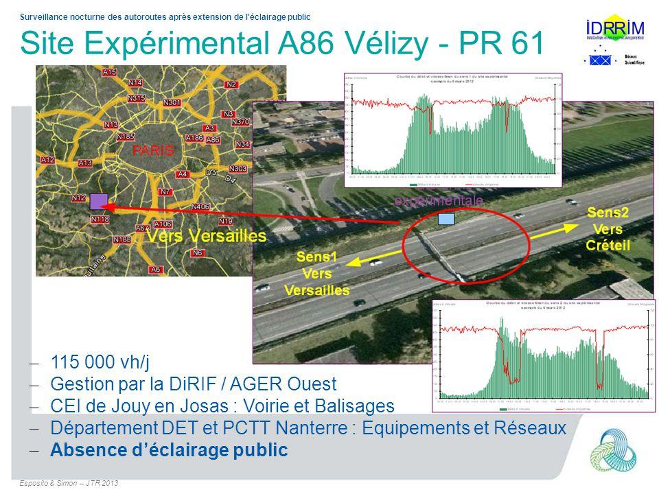 Surveillance nocturne des autoroutes après extension de l'éclairage public Site Expérimental A86 Vélizy - PR 61 – 115 000 vh/j – Gestion par la DiRIF