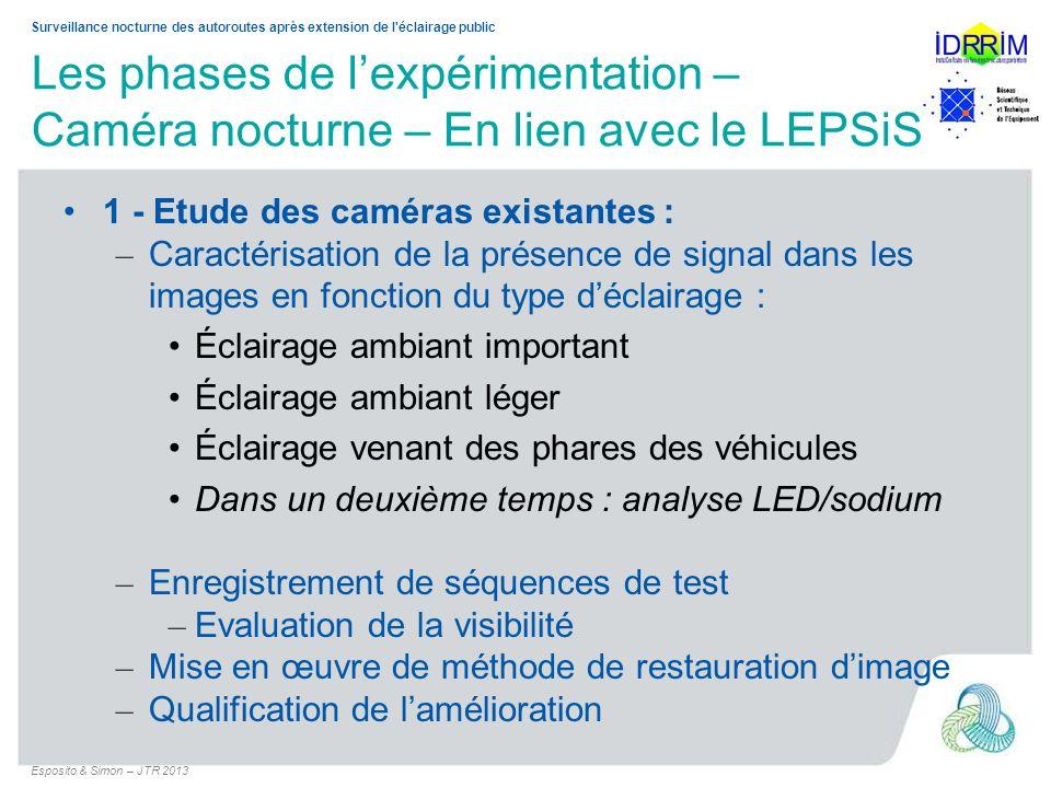Surveillance nocturne des autoroutes après extension de l'éclairage public Les phases de lexpérimentation – Caméra nocturne – En lien avec le LEPSiS 1