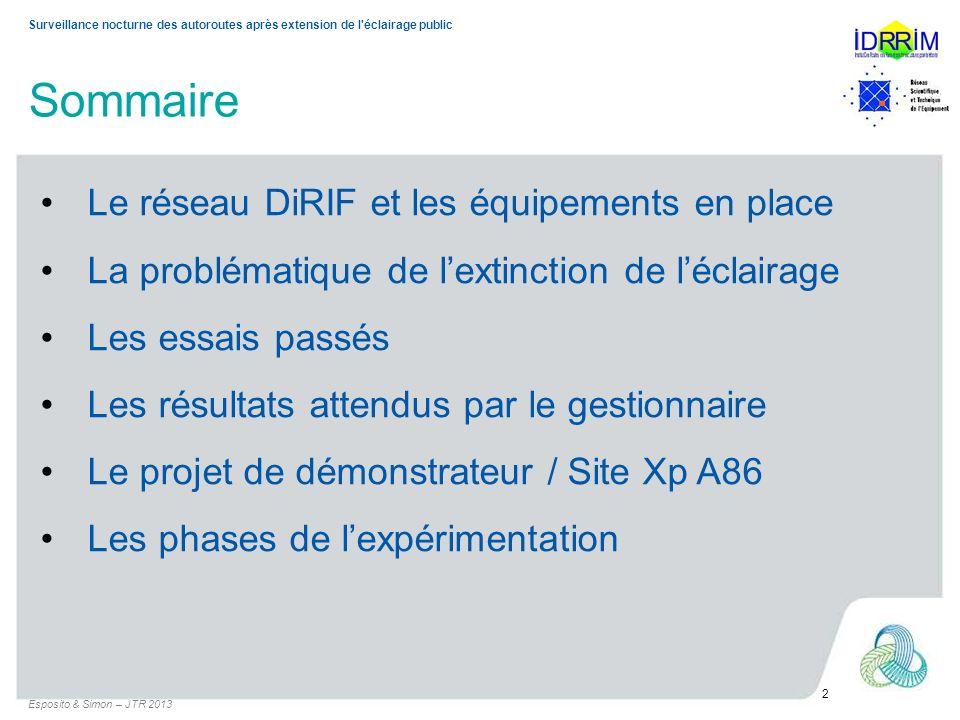 Surveillance nocturne des autoroutes après extension de l'éclairage public Sommaire Esposito & Simon – JTR 2013 2 Le réseau DiRIF et les équipements e