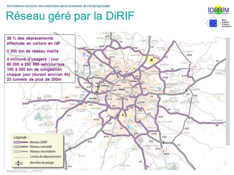 Surveillance nocturne des autoroutes après extension de l'éclairage public Réseau géré par la DiRIF 3 38 % des déplacements effectués en voiture en Id