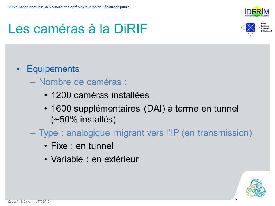 Surveillance nocturne des autoroutes après extension de l'éclairage public Les caméras à la DiRIF Équipements –Nombre de caméras : 1200 caméras instal