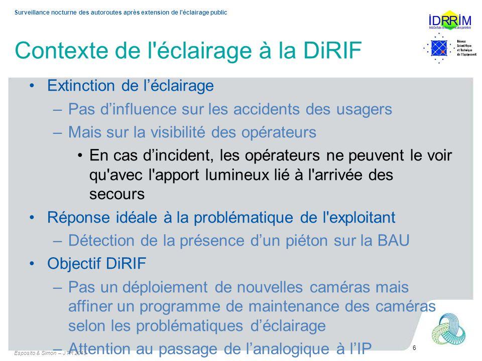 Surveillance nocturne des autoroutes après extension de l'éclairage public Contexte de l'éclairage à la DiRIF Extinction de léclairage –Pas dinfluence