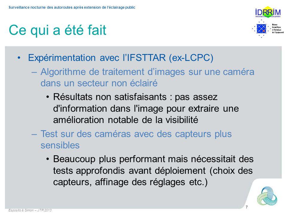Surveillance nocturne des autoroutes après extension de l'éclairage public Ce qui a été fait Expérimentation avec lIFSTTAR (ex-LCPC) –Algorithme de tr