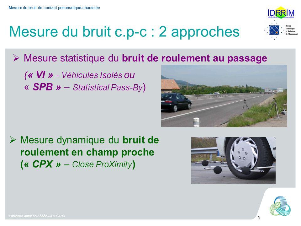 Mesure du bruit c.p-c : 2 approches Fabienne Anfosso-Lédée – JTR 2013 3 Mesure du bruit de contact pneumatique-chaussée Mesure dynamique du bruit de roulement en champ proche (« CPX » – Close ProXimity ) Mesure statistique du bruit de roulement au passage (« VI » - Véhicules Isolés ou « SPB » – Statistical Pass-By )