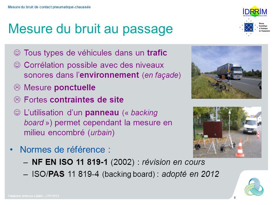 Mesure du bruit au passage Fabienne Anfosso-Lédée – JTR 2013 4 Mesure du bruit de contact pneumatique-chaussée Tous types de véhicules dans un trafic Corrélation possible avec des niveaux sonores dans lenvironnement (en façade) Normes de référence : –NF EN ISO 11 819-1 (2002) : révision en cours –ISO/PAS 11 819-4 (backing board) : adopté en 2012 Mesure ponctuelle Fortes contraintes de site Lutilisation dun panneau (« backing board » ) permet cependant la mesure en milieu encombré ( urbain )