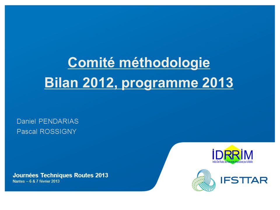 Journées Techniques Routes 2013 Nantes – 6 & 7 février 2013 Comité méthodologie Bilan 2012, programme 2013 Daniel PENDARIAS Pascal ROSSIGNY